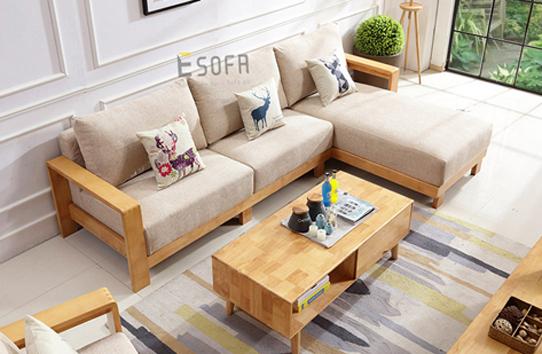 Sofa gỗ góc đệm E216