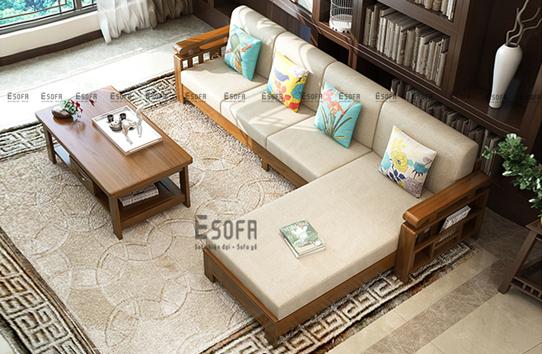 Sofa gỗ góc đệm E231