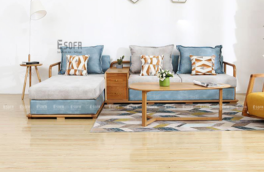 Sofa gỗ góc L E233