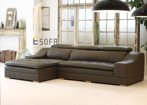 Sofa da góc chữ L E110